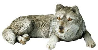 Wolf Lying Down Figurine by Sandicast