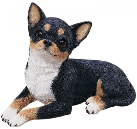 Tricolor Chihuahua Dog Statue by Sandicast