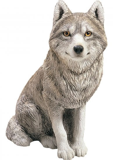 Sitting Wolf Statue by Sandicast