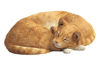 Sandicast Sleeping Cat Statue (Orange)