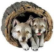 Wolf Pups Statue by Sandicast