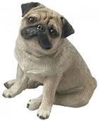 Sitting Pug Dog Figurine (Fawn)