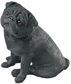 Sitting Pug Dog Figurine (Black)