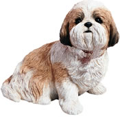 Shih Tzu Dog Statue (Gold/White) Sitting