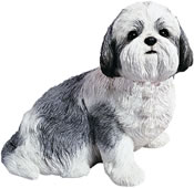 Shih Tzu Dog Statue (Silver/White) Sitting