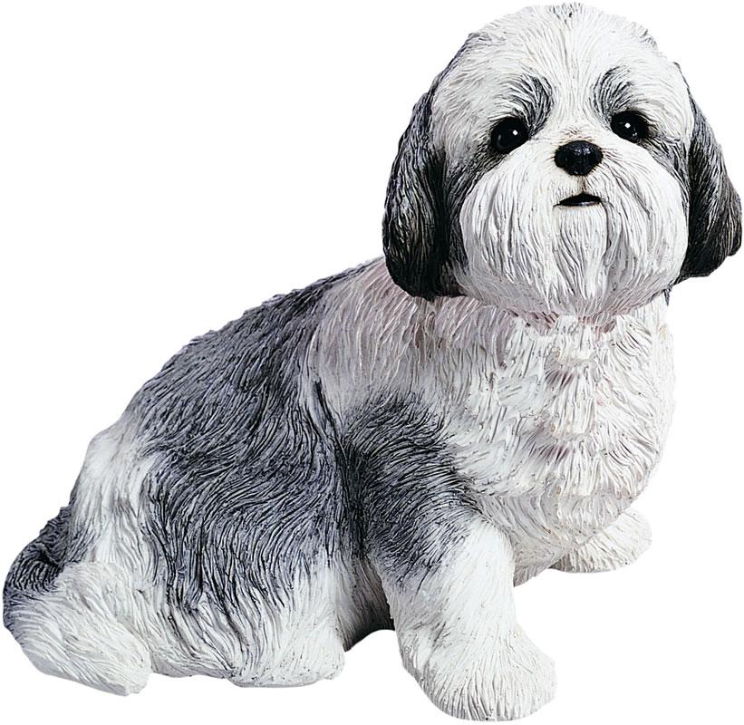 Shih Tzu Dog Statue Silver White Sitting Sandicast All