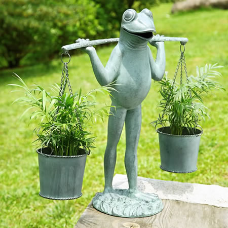 Farmer Frog Planter Holder