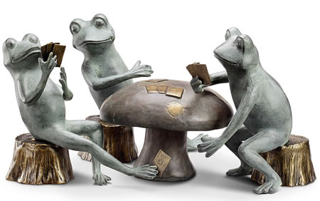 Card Cheat Frogs Garden Sculpture Set