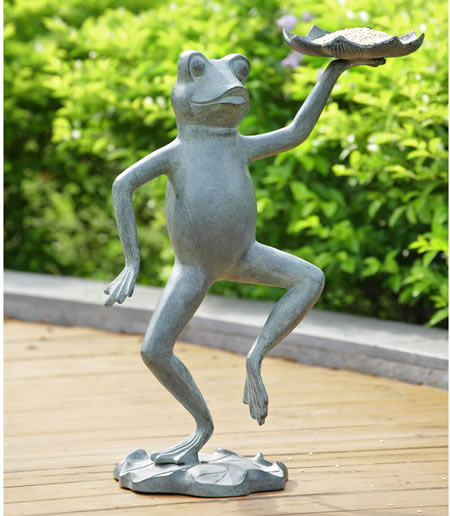 Dancing Frog With Lilypad Birdfeeder
