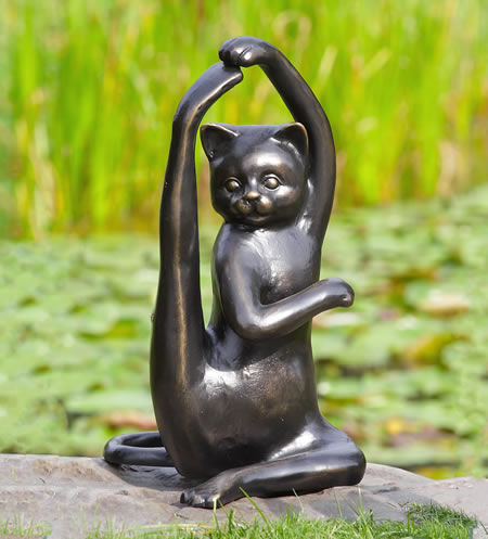 Stretching Yoga Cat Garden Sculpture Spi San Pacific