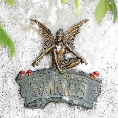Cautionary Fairy Garden Wall Plaque