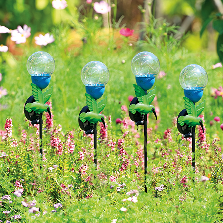 Hummingbird LED Light Garden Stakes, Set of 4