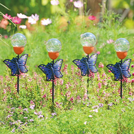 Butterfly LED Light Garden Stakes, Set of 4