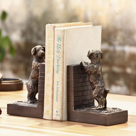 Perky Peeking Puppy Bookends