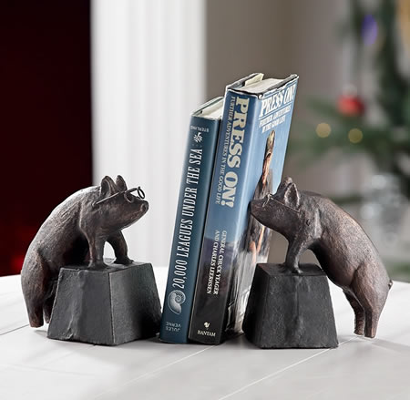 Nearsighted Pigs Bookends Pair