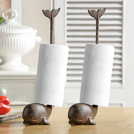 Whale Paper Towel Holders, Set of 2