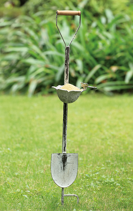 Dragonfly and Flower Cup Shovel Birdfeeder on Stake