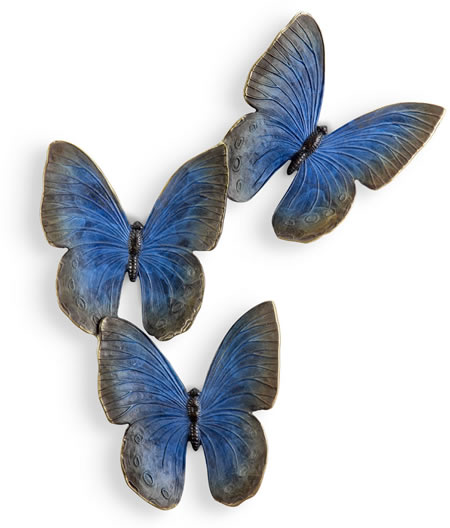 Fluttering Blue Butterflies Wall Plaque