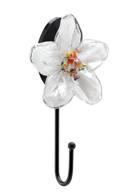 Art Glass Flower Coat Hook White
