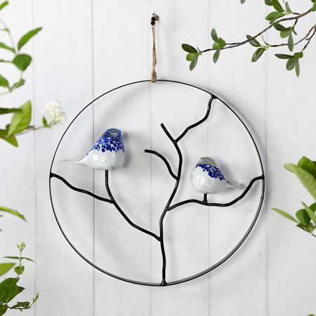 Art Glass Bird Pair Wall Hanging