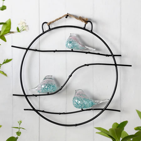 Art Glass Bird Trio Wall Hanging