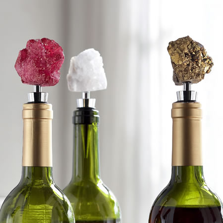 Broken Geode Agate Wine Stoppers, Set of 3