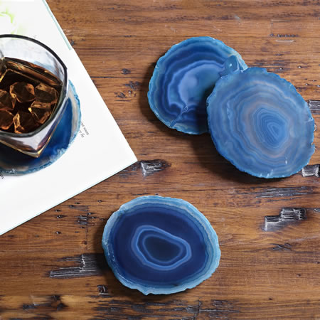 Teal & White Agate Coasters, Set of 4