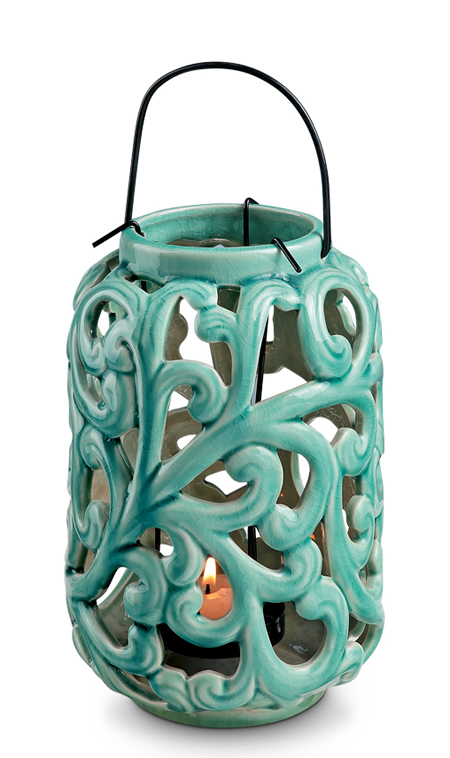 Blue Vine Ceramic Lantern