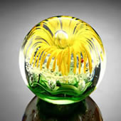 Yellow Flower Sphere/Paperweight