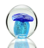 Art Glass Blue Mushroom Paperweight