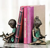 Boy and Girl Reading Bookends (Pair)