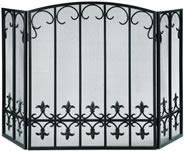 Fleur de Lis Fireplace Screen, Black