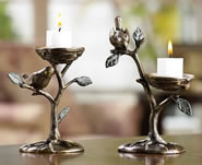 Bird & Branch Pillar Candleholders, Pair