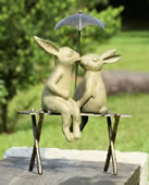 Bunny Lovers on Bench