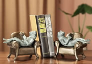 Frogs Reading on Sofa Bookends Pair