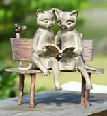Reading Cats on Bench Garden Sculpture