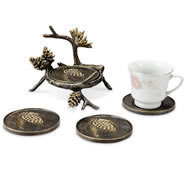 Pinecone and Branch Drink Coaster Set of 4