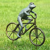 Frog on Bicycle Garden Sculpture