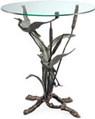 Crane Pair in Flight Sculpture End Table