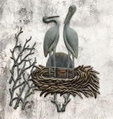Crane Pair in Nest Wall Plaque