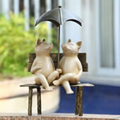 Contentment Pigs with Umbrella Garden Statue