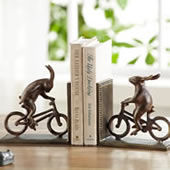 Bunnies on Bikes Bookends