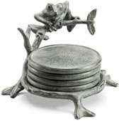 Frog on Branch Coaster Set with Stand