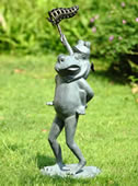 Butterfly Chasers Frog Garden Sculpture