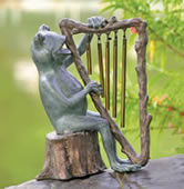 Frog and Harp Tube Windchime/Garden Statue