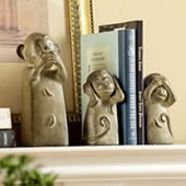 Three Wise Monkey Trio Bookend