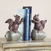Squirrel and Acorn Bookends Pair