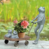 Frog Family with Wagon Planter Holder