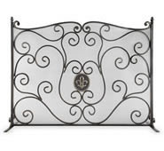 Fleur de Lis and Mesh Fireplace Screen