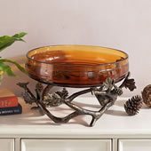 Pinecone and Branches Bowl Holder (glass included)